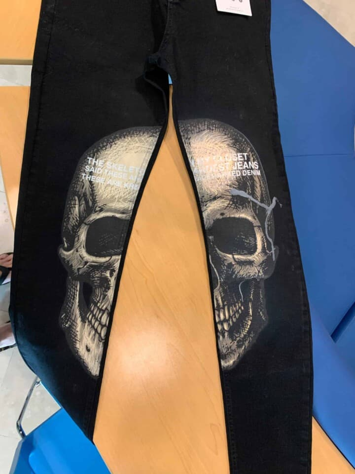Custom Skull DTG Printed Jeans by TAKE4 in Alpharetta, GA