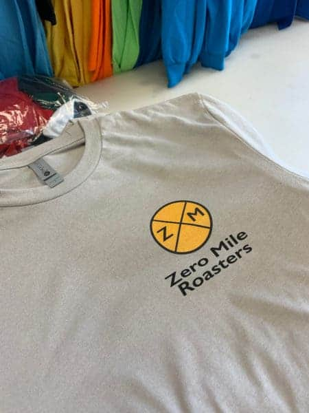 Zero Mile Roasters DTG Printed Tee by TAKE4 in Alpharetta, GA